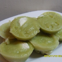 steamed pandan rice cake (puto)