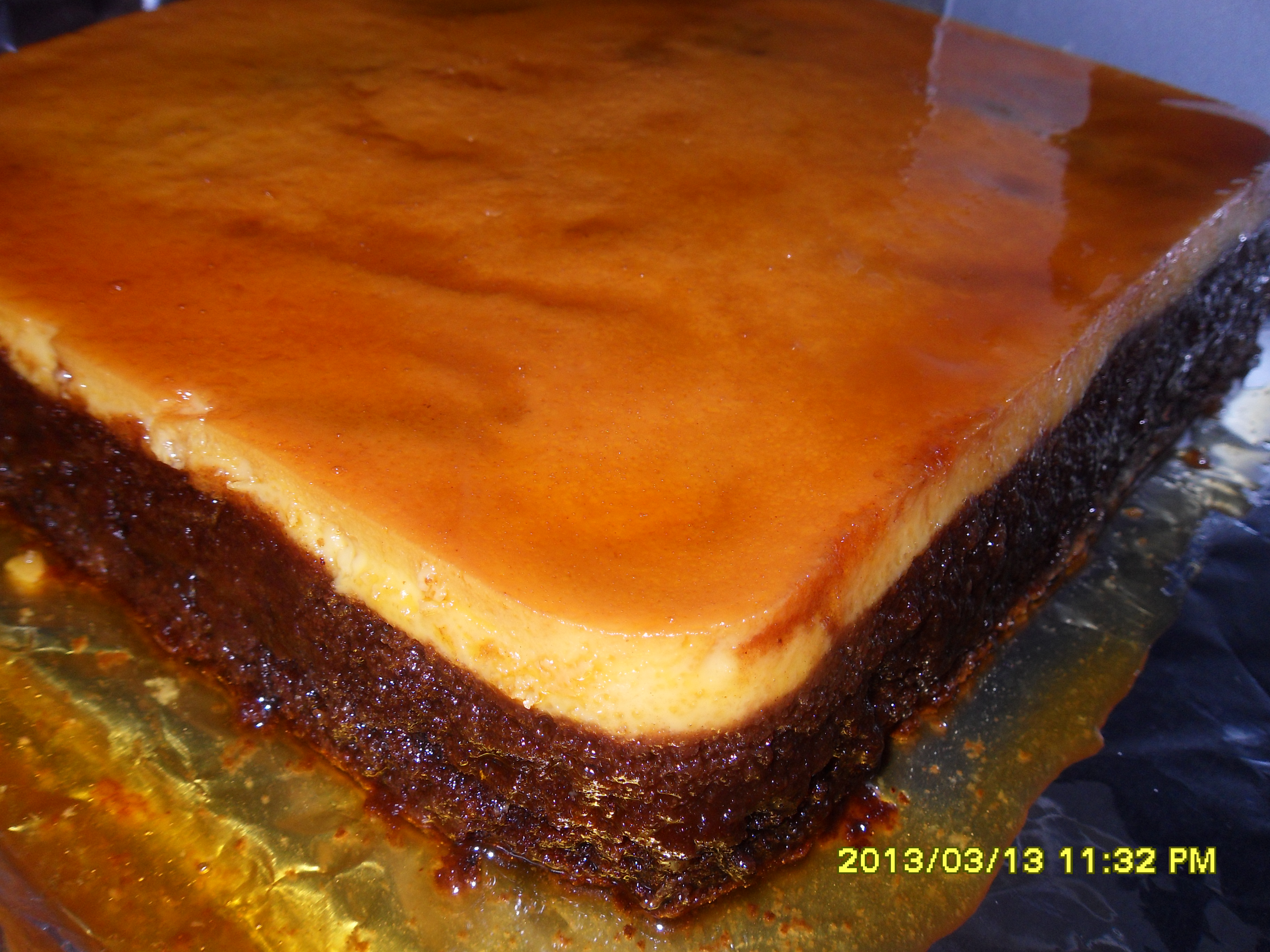Impossible Flan Chocoflan Countybakermom