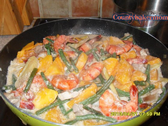 string beans&squash in coconut milk